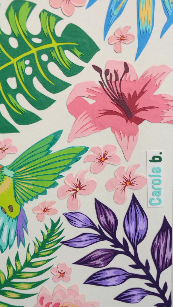 Oiseau de paradis 3 papiers découpés Carole b