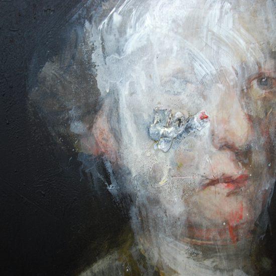 Portrait d'un personnage noble abimé par le temps. Peinture à l'huile avec ajout d'éléments