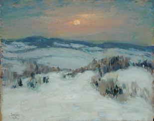 paysage d'hiver peint au pastel sec