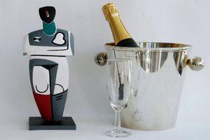 Seau de champagne avec oeuvre de Messager