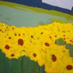 tournesol, peinture, huile, champs