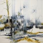 paysage, aquarelle, forêt, arbre
