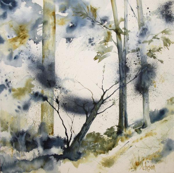 paysage, aquarelle, canada, forêt