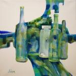 aquarelle, bouteilles, composition