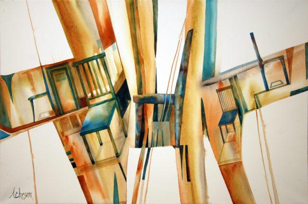 composition, aquarelle, abstrait, chaise, canada