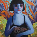 portrait, jeune fille, chat, huile