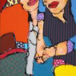 duo, portrait, humour, acrylique