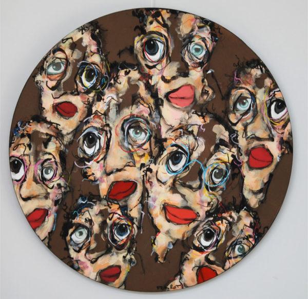 portrait, humour, acrylique, tondo
