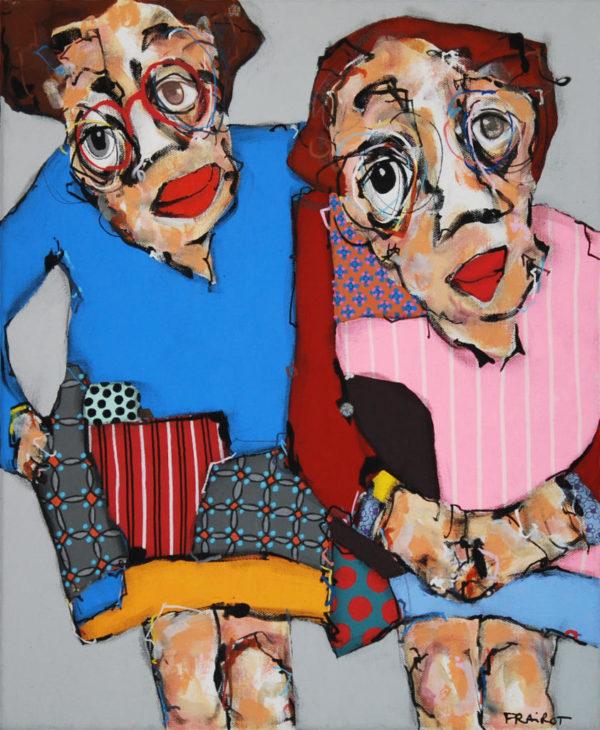 portrait, duo, femme, acrylique