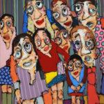 portrait, groupe, acrylique, humour
