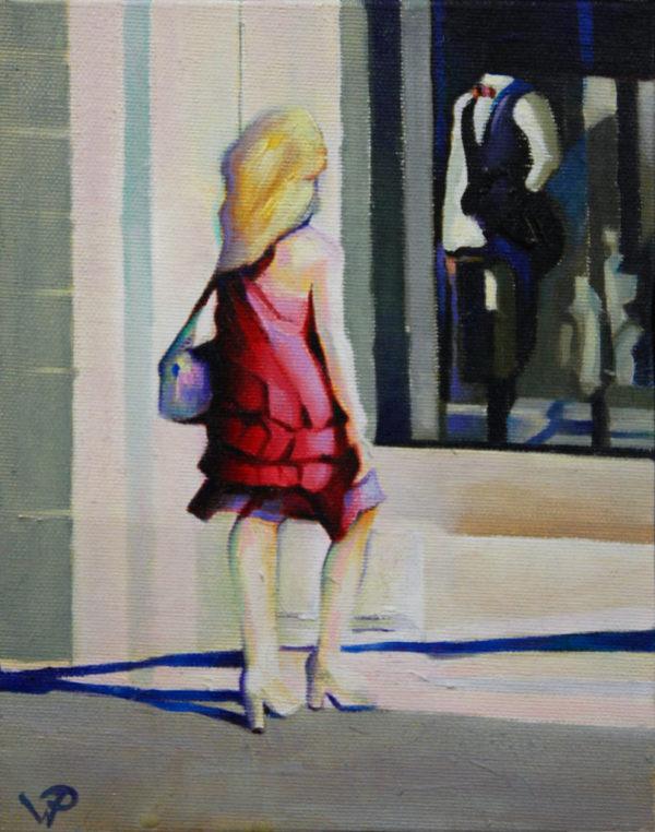 ville, shopping, huile, peinture