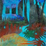 peinture, collage, forêt, bleu