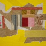 peinture, huile, collage, plan maison