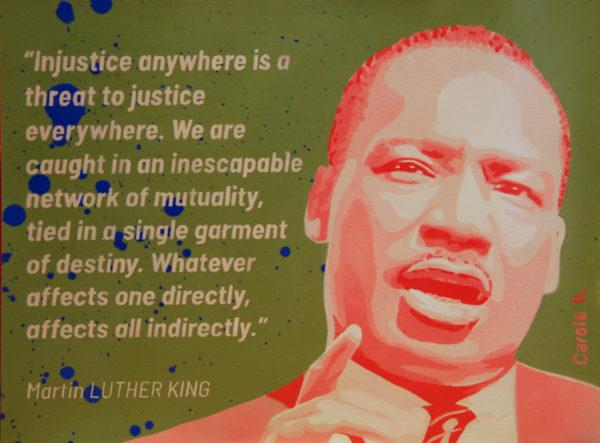Martin Luther King, portrait, pochoir