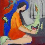 jeune fille, oiseau, peinture