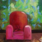 oiseau, fauteuil, intérieur, peinture