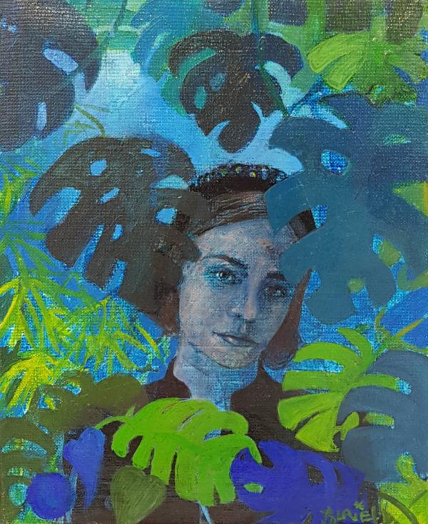 Jeune fille, jungle, peinture