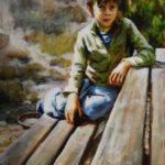 enfant, portrait, acrylique