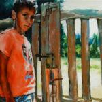 portrait, enfant, jardin, huile