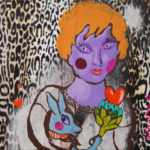 portrait, femme, lapin, techniques mixtes