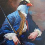 oiseau, peinture, huile, portrait