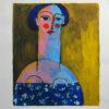Femme aux cheveux bleus sur fond ocre