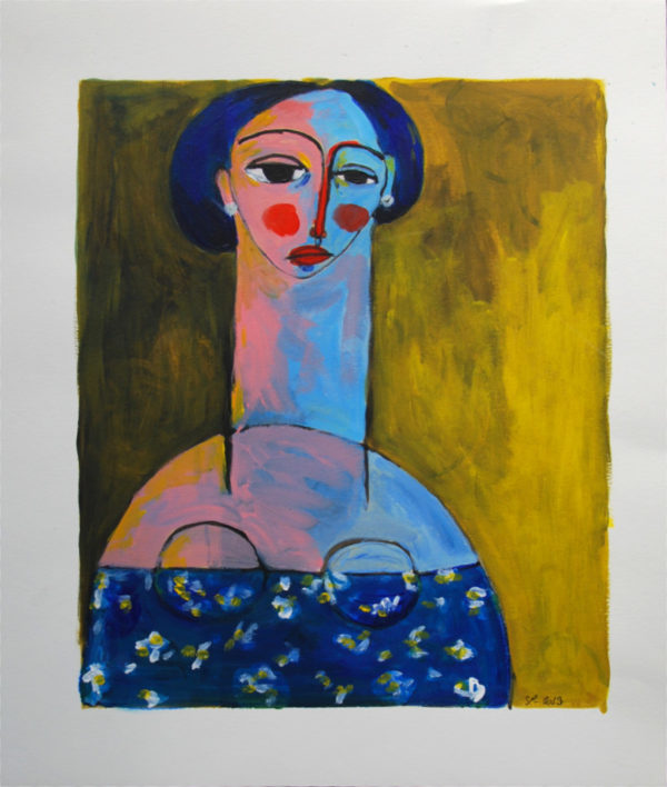femme, portrait, acrylique