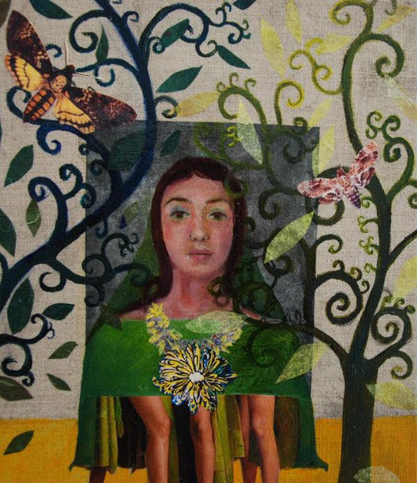 portrait, collage, jeune femme