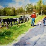 campagne, vache, enfant, peinture