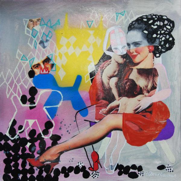 maman, peinture, collage, saint-amaux