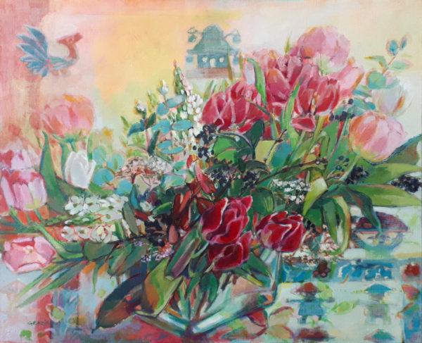 fleurs, nature morte, acrylique