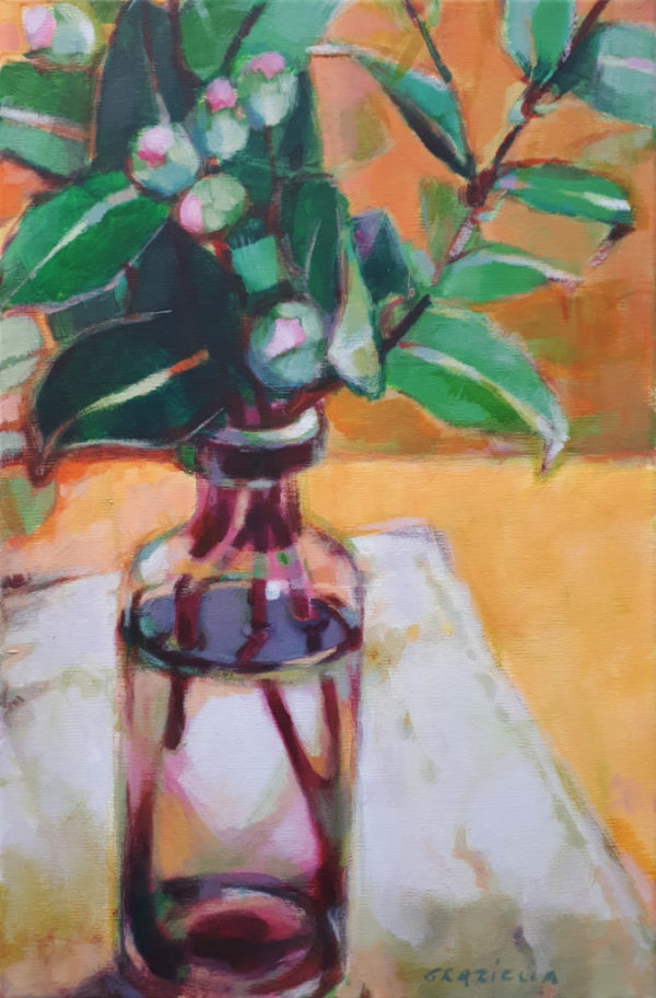 Bouquet, camelia, acrylique, peinture