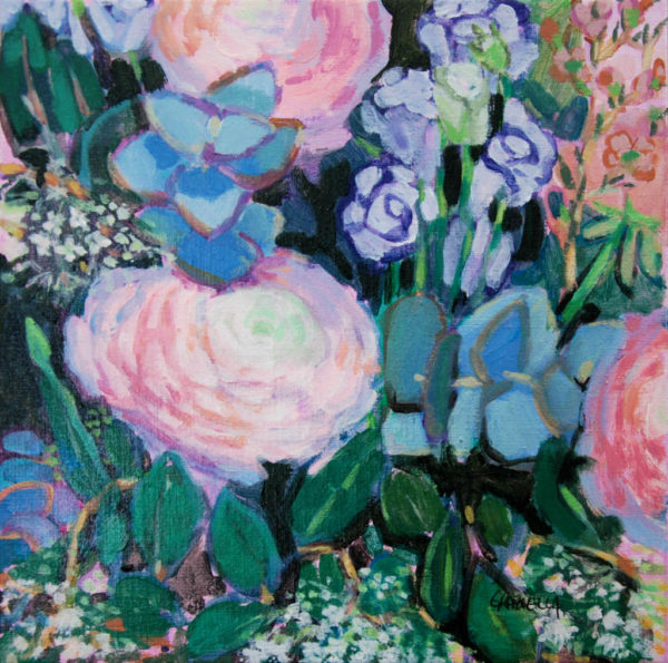 fleurs, bouquet, acrylique