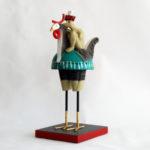 sculpture, céramique, homme, poule