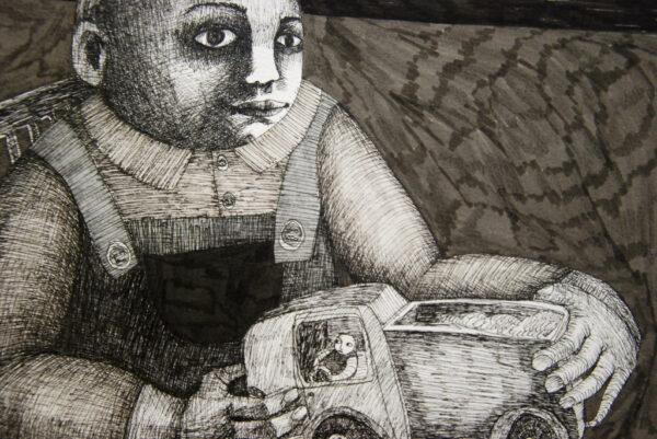 dessin, enfant, encre