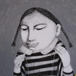dessin, fillette, encre